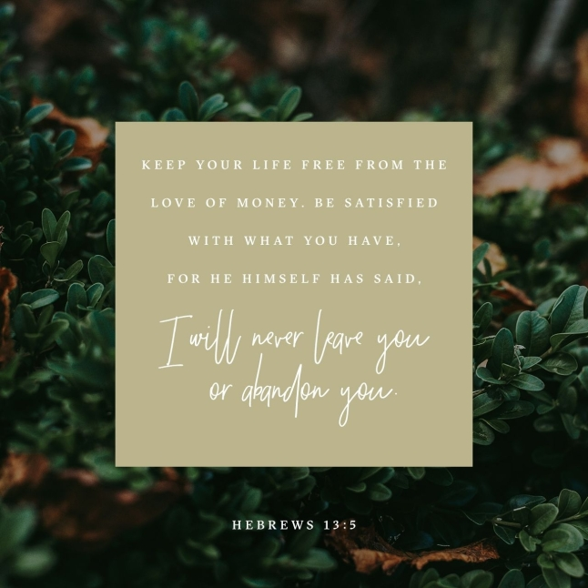 Verse of The Day - Hebrews 13:5 - FixItWithFran.com